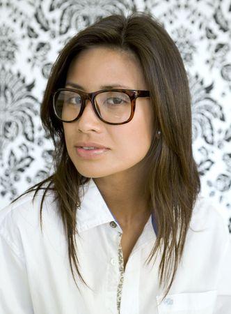 Beatuful young asian woman wears glasses