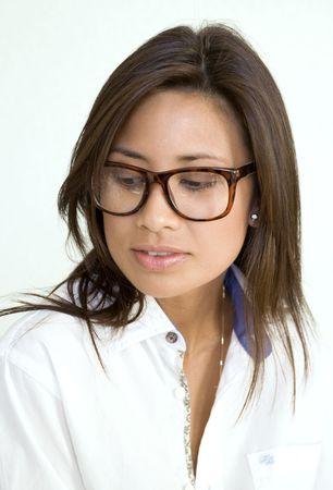 Beatuful young asian woman wears glasses photo