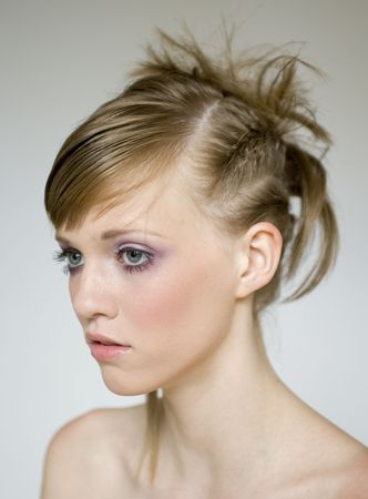 nouse: Beautiful girls models a wild hair style Stock Photo