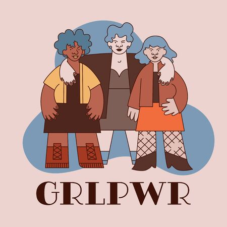 Teamwork women gang and text illustration in trendy modern minimal line flat style. Concept about feminism, diversity, gender equality, girl power. Idea for 8 march card, poster, banner.