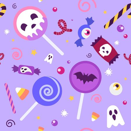 Cute pattern with Halloween candy like skull lolipop, candy corn and ghost sweet in pastel palette and yellow little stars on the lilac background