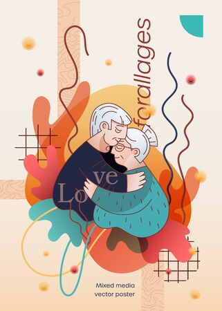 Old people hug and husband kiss his wife in forehead. Romance relationship of elderly persons. Poster, banner, print, postcard for Valentine Day on abstract background. Flat linear, mixed media style Ilustrace