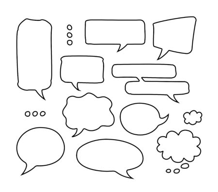 Drawing by hand bubble speech isolated set. Vector kit of blank message clouds for chat, comics or banners in sketch style.