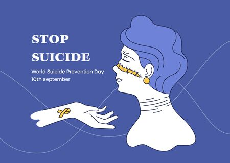 Lend helping hand to broken. Scars girl. World Suicide Prevention Day Standard-Bild - 141865644