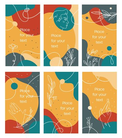 Summer stories template in bright abstract style