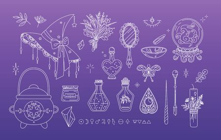 Isolated set of magic elements. Witchcraft collection good witch items Illustration