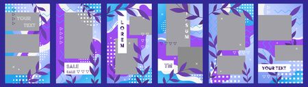Vector set of template social media with copy space. Frames for stories, abstract floral style with memphis notes Иллюстрация