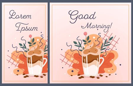 Glass of cappuccino with copy space for text. Promotion template for social media - story and post. Cozy autumn palette