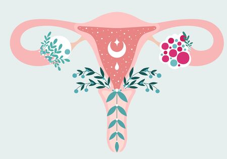 PCOS - Anatomical scheme of Uterus in flowers. Polycystic ovary syndrome - Diagram of reproductive system. Women health Illustration