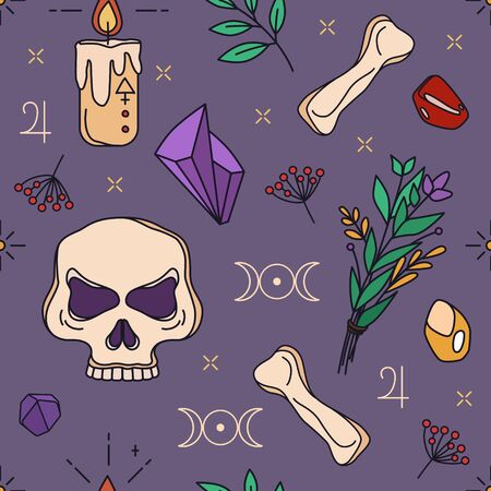 Wicca - seamless pattern with crystals and candle. Vector print for fabric, wrapping paper or notebook 写真素材 - 149899054