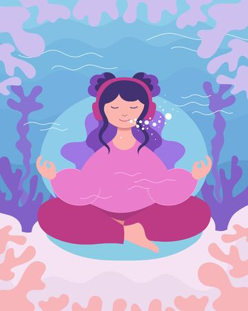 Underwater meditation of teenager girl. Young woman sits and meditates in lotus yoga pose for best focus. Concept of self care, wellness, mindfulness and balance. Rest - vector illustration