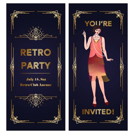 Vertical Template of Art Deco two-sided invitation. Copy space vector layout with geometric frame and flapper girl