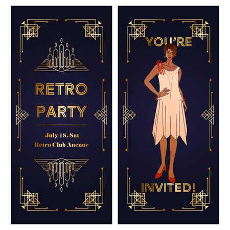 Vertical Template of Art Deco two-sided invitation. Copy space vector layout with geometric frame and elegant woman Ilustração