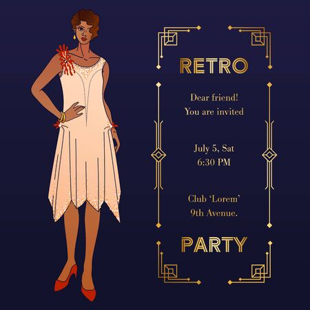 Art Deco vintage invitation with elegant woman. Cover, square banner or greeting card a-la Roaring 20s. Golden geometric frame, copy space and illustration of stylish lady. Also for social media post