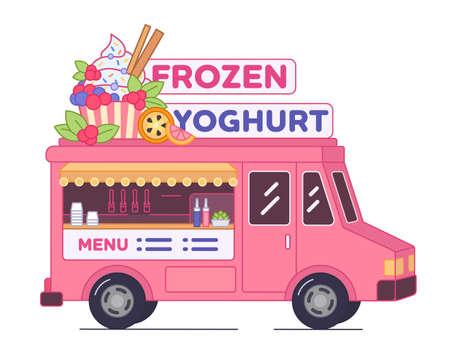 Frozen yoghurt bar - van format. Street food concept. Diet ice cream cafe in little truck