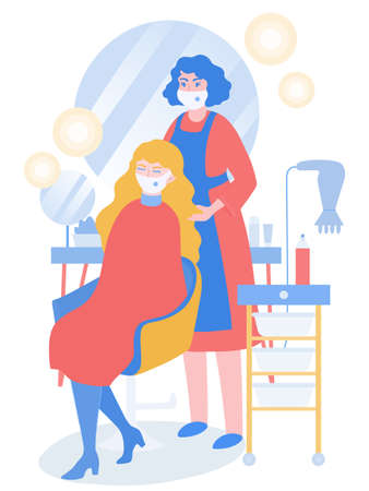 Coronavirus prevention in beauty salons during pandemic. Hairdresser in mask cut client, considering prevention rules