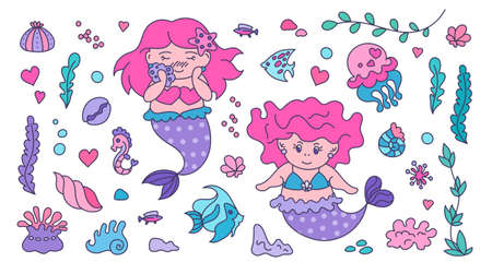Under the Sea - Set of kawaii stickers. Pretty mermaids and jellyfish, oceanic fishes, shells, water plants and anemones Ilustracja