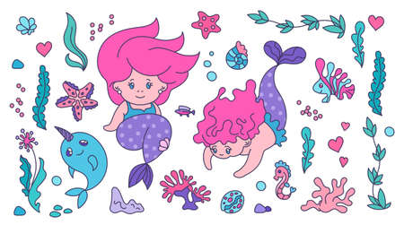 Sea Life sticker set for kids. Cute little mermaids and kawaii horned whale, shells, water plants and starfish