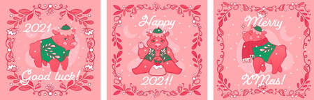 Square templates of Christmas greeting cards with twigs frames. Greeting cards with zodiac bulls in chinese costumes. Three layouts of hand drawn postcards with cute oxes in modern style