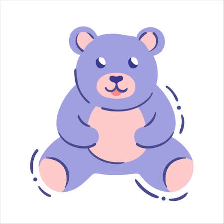 Teddy bear toy in hand drawn style - isolated vector drawing