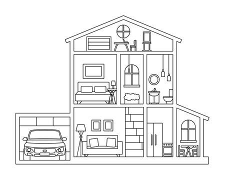 Dollhouse, cottage house in cross section - picture for coloring book Vecteurs