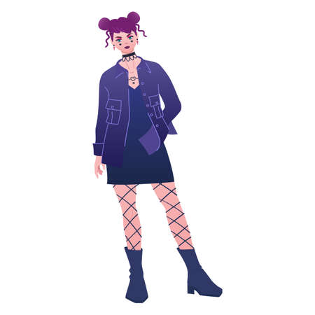 Goth girl in slip dress and shirt jacket, fashion outfit