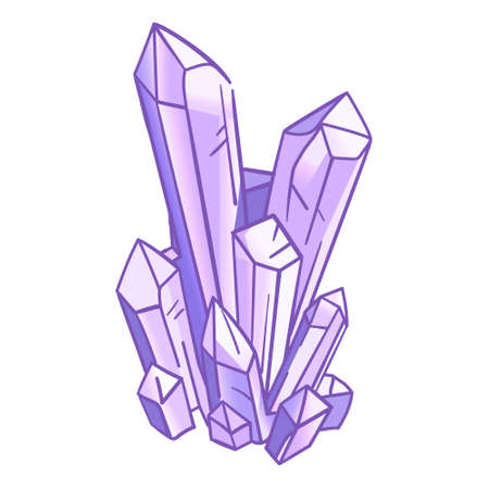 Natural crystals in light purple palette, hand drawn isolated vector illustration on white background