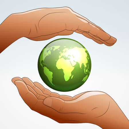 environment geography: Earth supported by hands