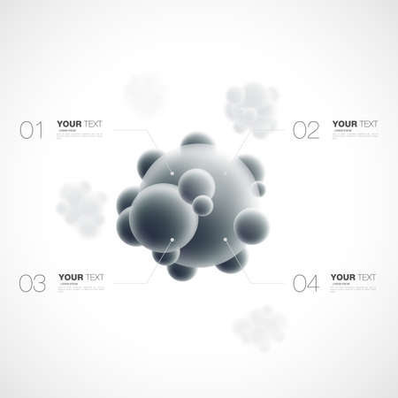 Abstract 3D infographics template molecule with content for your design isolated on white background stock vector illustration eps 10