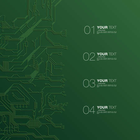 electronic circuit: Detailed Printed Circuit Board Design with numbers for your content stock infographics vector illustration eps 10 Illustration