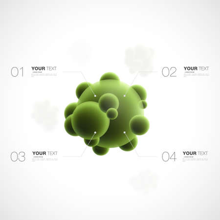 virus cell: Abstract 3d green bacteria with infographics template for your content design isolated on white background vector stock eps 10 illustration