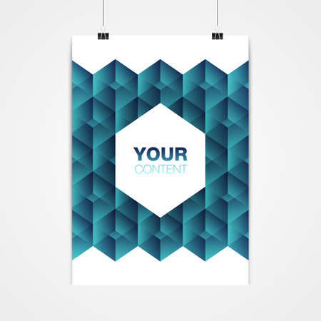 Diseño abstracto mínimo del cartel del formato A4 / A3 con su texto, clips de papel y sombra stock vector ilustración Eps 10