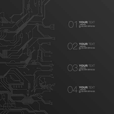 electronic circuit: Detailed Printed Circuit Board Design with numbers for your content infographics vector stock eps 10 illustration Illustration