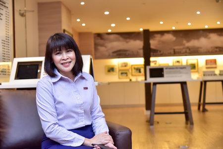 Beautiful woman smiling in uniform 1 September 2020 Nonthaburi, Thailand