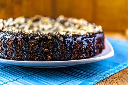 chockolate cake at the blue mat 写真素材