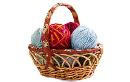 basket embroidery: Basket with knitting yarn isolated on white background