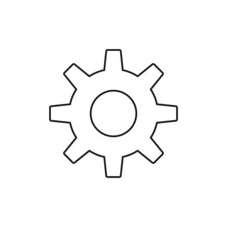 mechanism of progress: Gear icon outline vector isolated on white background Illustration
