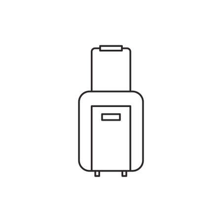 baggage: Suitcase icon outline baggage vector contour isolated on white background