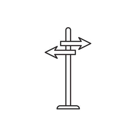 guidepost: Guidepost arrow outline contour vector  icon on white background Illustration