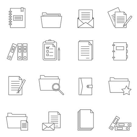 Outline document notes icon set vector isolated on white background Illustration