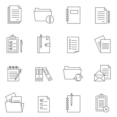 Outline document notes icon set vector isolated on white background Ilustracja