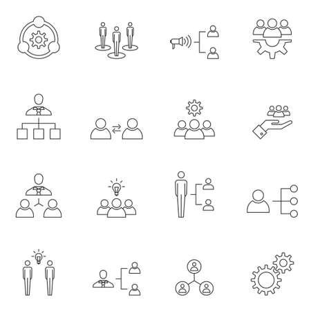 teamwork: Teamwork icon set outline vector isolated on white background Illustration