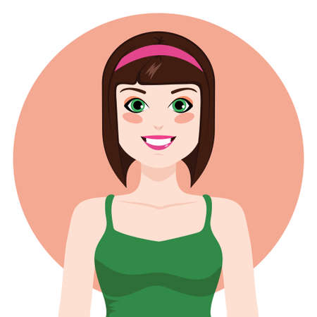 making a face: Flat girl illustration vector isolated on white background Illustration