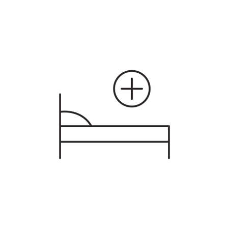 therapeutic: Hospital bed medicine icon simple vector illustration sign