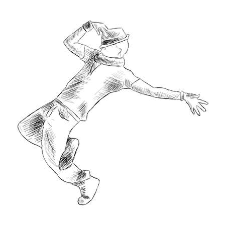 Hip-hop man dancer vector sketch isolated on white background