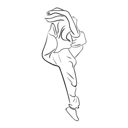 Hip-hop woman dancer vector contour sketch isolated on white background Illustration