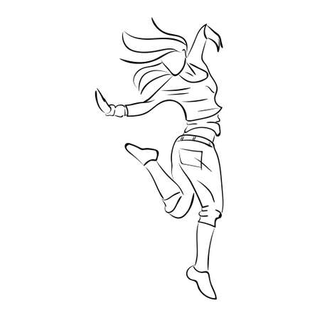 black youth: Hip-hop woman dancer vector contour sketch isolated on white background Illustration