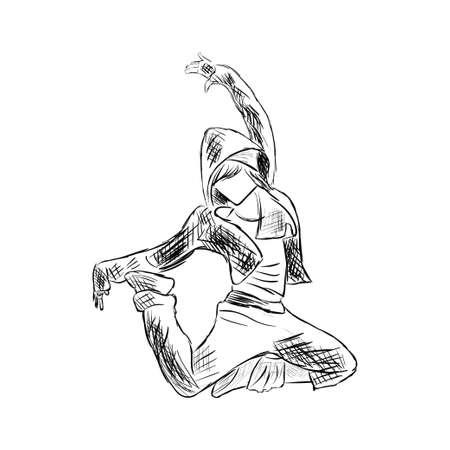 ヒップホップの女性ダンサー ベクター スケッチに孤立した白い背景