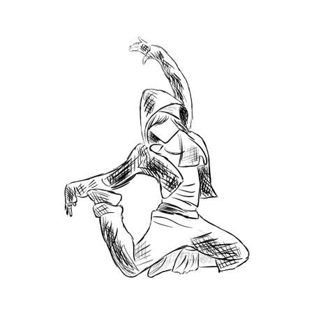 Hip-hop woman dancer vector sketch isolated on white background Illustration