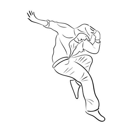 hip hop silhouette: Hip-hop man dancer vector contour sketch isolated on white background